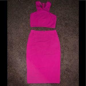 EXPRESS fuschia skirt and halter size 8 set